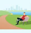 man relaxing in the park vector image