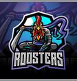 ninja rooster esport mascot logo vector image