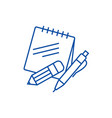 notes with pen and pencil line icon concept notes vector image vector image