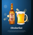 oktoberfest poster with beer in bottle and mug vector image