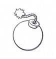 outline ball-shaped bomb with burning fuse vector image