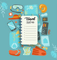 packing list travel planning concept preparing vector image vector image