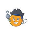 pirate orange fruit cartoon character vector image vector image