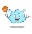 playing basketball cute cloud character cartoon vector image