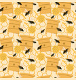 random seamless honey pattern with bees and hives