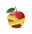 red apple with measuring tape vector image vector image