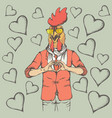 rooster valentine day concept vector image vector image