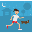 Running girl Dachshund dog Cute run woman Night vector image