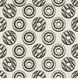 Seamless Pattern Black And White Donuts Background vector image vector image