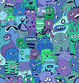 Seamless Pattern With Funny Monsters vector image vector image