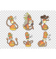 set funny robots in outline style vector image
