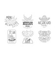 set of 6 sketch style emblems for mexican vector image vector image