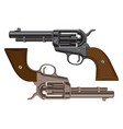 set of big revolvers on a white background vector image