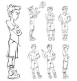 Set of full-length hand-drawn Caucasian teens vector image