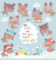 set with cute little deers on winter background vector image