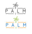 simple restaurant emblem with palm and martini vector image vector image
