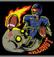 skull playing american football vector image vector image