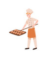 smiling male baker baking bread flat vector image
