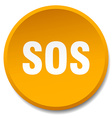 sos orange round flat isolated push button vector image vector image