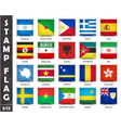 stamp with official country flag set 3 12 vector image