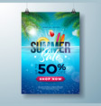 summer sale poster design template with beach vector image vector image