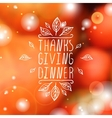 Thanksgiving dinner - typographic element vector image vector image