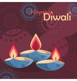 Three burning diya on Diwali Holiday background vector image vector image