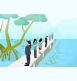 tourist in mangroves with mudskipper art vector image vector image