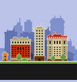 urban landscape with buildings icons vector image vector image