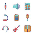 voice recording icons set flat style vector image vector image