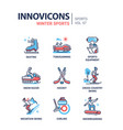 Winter sports - line design icons set vector image