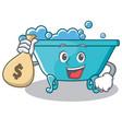 with money bag bathtub character cartoon style vector image vector image