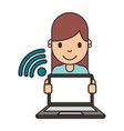 woman cartoon with laptop vector image vector image