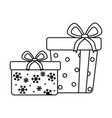 wrapped gift boxes celebration merry christmas vector image vector image