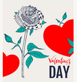 abstract rose flower and red heart shape greeting vector image