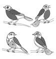 Hand drawn zentangle birds vector image