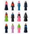 Muslim woman flat icons vector image