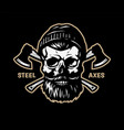 a lumberjack skull with beard hat and two vector image