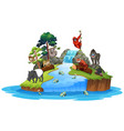 animals on island scene vector image