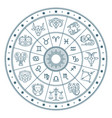 astrology horoscope circle with zodiac signs vector image vector image