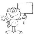 black and white smiling monkey vector image vector image