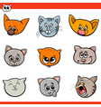 cartoon cats and kittens heads set vector image vector image