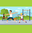 cartoon dad and son do sports together vector image vector image
