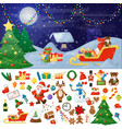 christmas fir tree with decoration on dark snowy vector image vector image