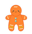 christmas gingerbread man new year icon in cute vector image vector image