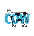 cow in outline with text vector image vector image