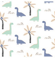 cute baby boy dino forest seamless pattern vector image