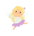 cute blonde little winged fairy beautiful flying vector image vector image