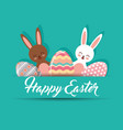 cute bunnies and decorative eggs happy easter vector image vector image