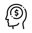 dollar coin money in man silhouette mind vector image vector image